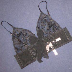M or L black bra flower bralette Victoria's Secret